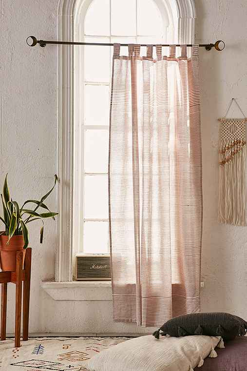 Space Dyed Striped Curtain,RUST,52X84
