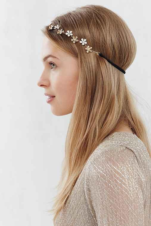 Flower Metal Headband,GOLD,ONE SIZE