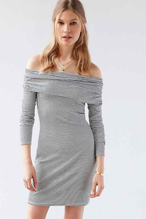Silence + Noise Cozette Striped Off-The-Shoulder Mini Dress,BLACK & WHITE,S