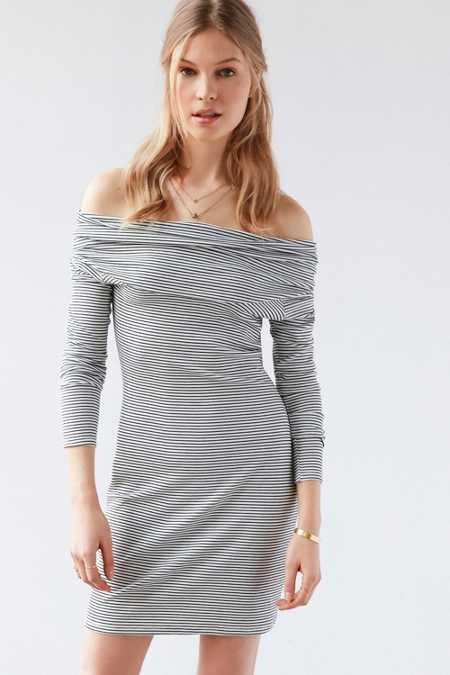 Silence + Noise Cozette Striped Off-The-Shoulder Mini Dress