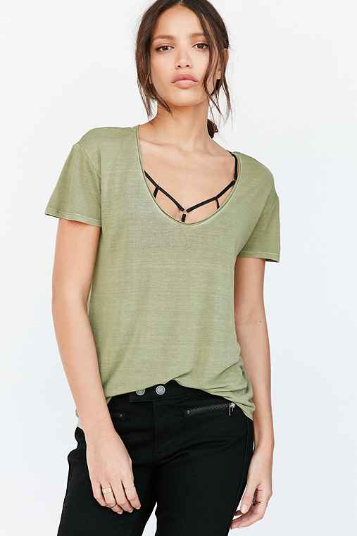 Silence + Noise Ingrid Scoop-Neck Tee,GREEN,S