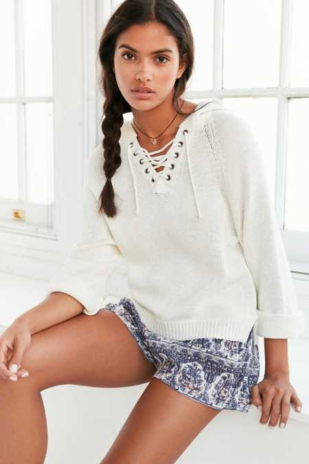 Ecote Lace-Up Hoodie Sweater