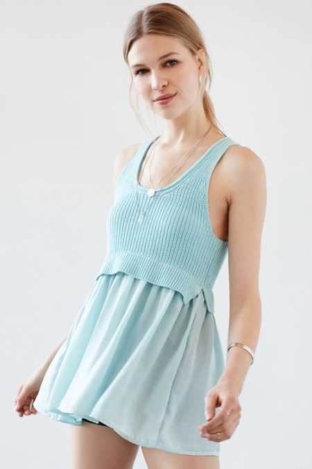 Kimchi Blue Ashley Babydoll Mix Tunic Tank Top