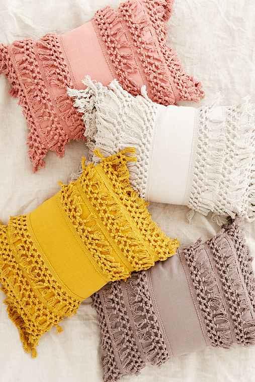 Venice Net Tassel Bolster Pillow,MUSTARD,ONE SIZE