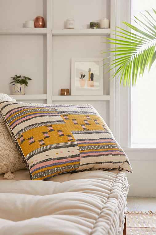 Lena Kantha Stripe Pillow,YELLOW,ONE SIZE