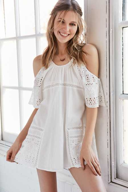 d.RA Nancy Embroidered Hem Cold Shoulder Tunic Dress