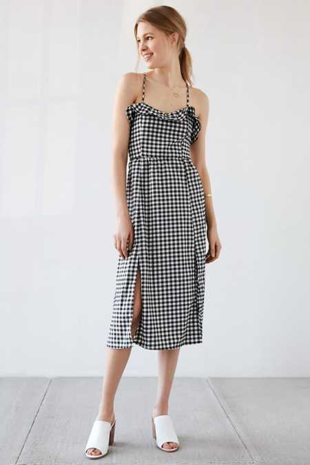 Cooperative Gingham Ruffle Midi Dress