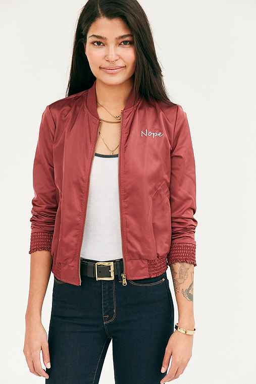 Silence + Noise Simple Satin Embroidered Nope Bomber Jacket,MAROON,L