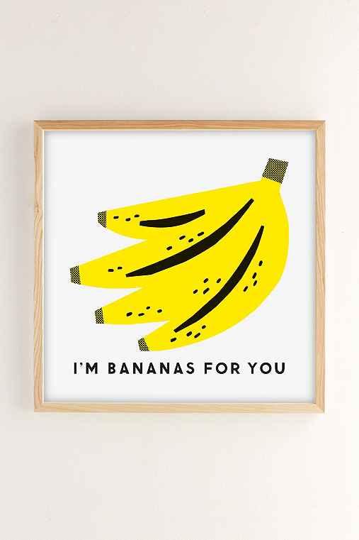 The Indigo Bunting Bananas For You Art Print,NATURAL WOOD FRAME,12X12