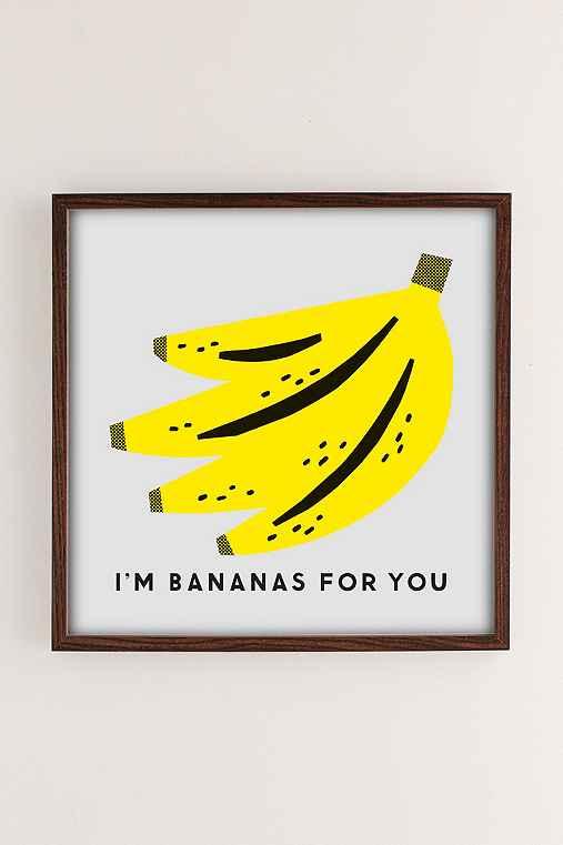 The Indigo Bunting Bananas For You Art Print,WALNUT WOOD FRAME,12X12