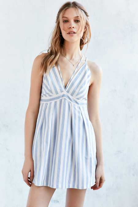 Cooperative Striped Plunging  Fit + Flare Mini Dress