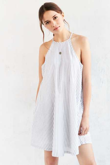 Native Youth Linen Stripe Swing Dress
