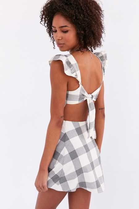 Native Youth Gingham Frill-Sleeve Mini Dress