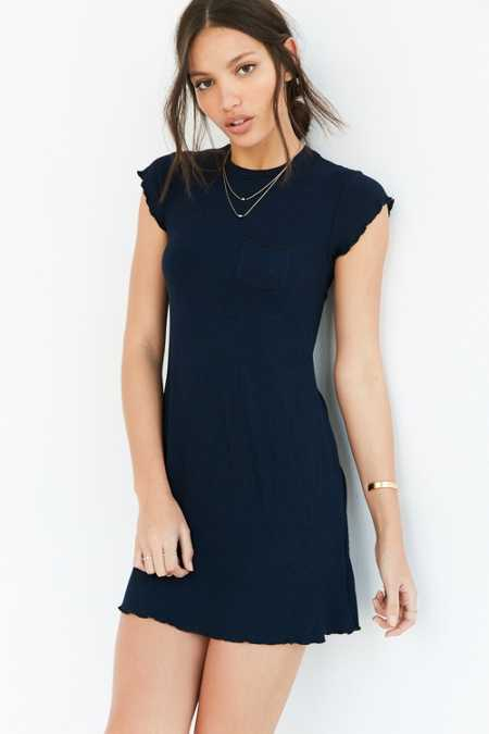 BDG Cap-Sleeve Camper Pocket Rib Dress