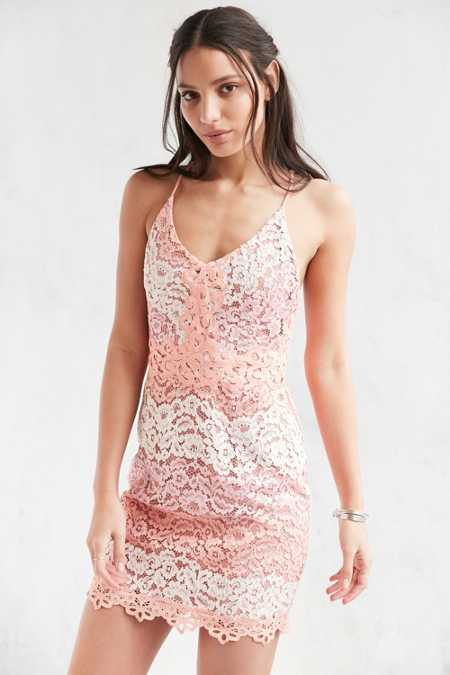 Chandi & Lia Mixed Lace Mini Dress