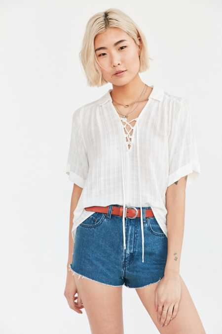 Ecote Lace-Up Blouse