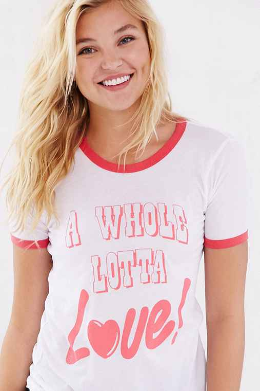 Junk Food A Whole Lotta Love Ringer Tee,WHITE,M