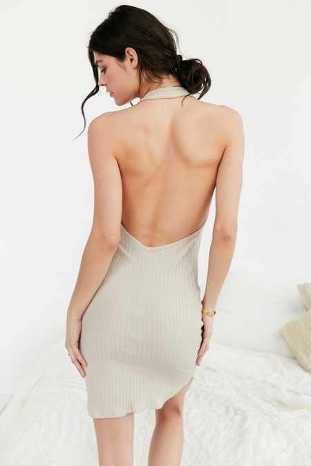 Out From Under Plunging Halter Midi Slip