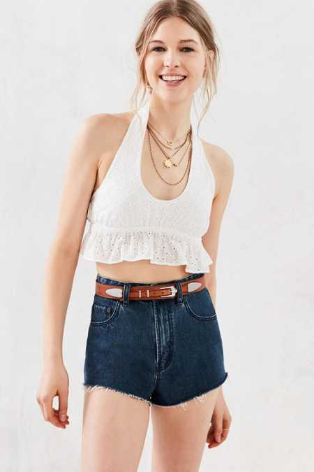 Cooperative Eyelet Halter Cropped Top