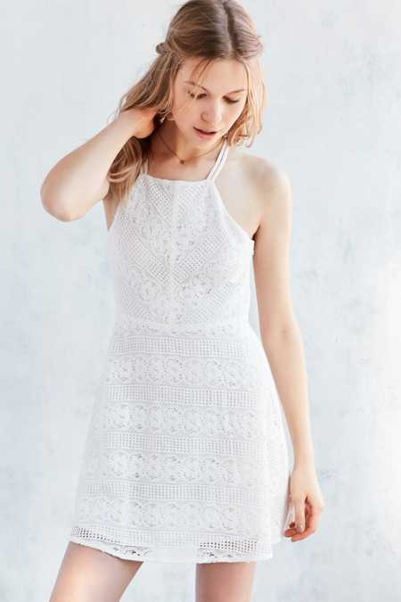 Kimchi Blue Linear Lace Fit + Flare Dress