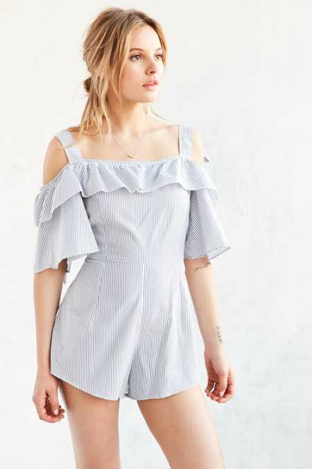 Shakuhachi Bow Stripe Cold Shoulder Romper