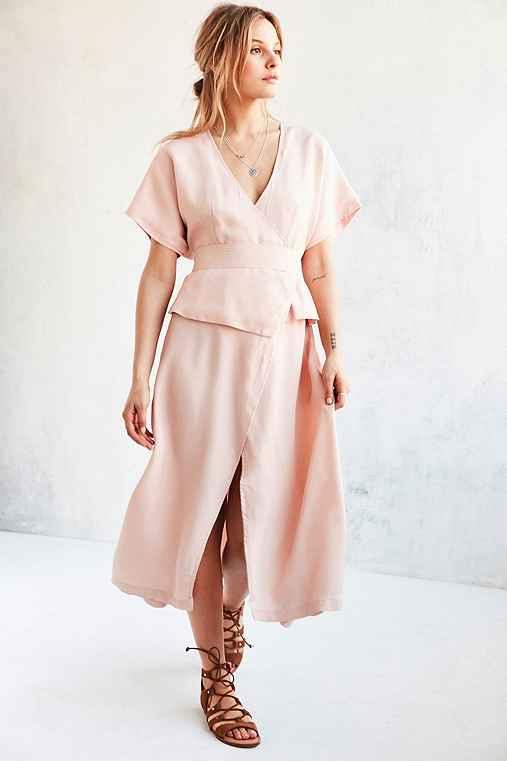 Shakuhachi Isabelle Kimono-Sleeve Wrap Dress,PINK,M