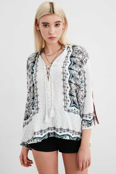 Ecote Lily Lace-Up Collar Blouse