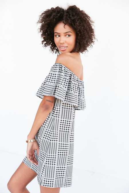Cooperative Gingham Ruffle Off-The-Shoulder Mini Dress