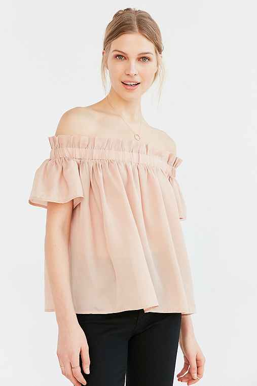 Lucca Couture Ruffle Off-The-Shoulder Blouse,PINK,L