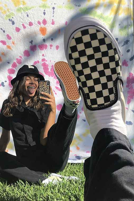 Vans Checkered Slip-On Sneaker,BLACK & WHITE,W 10/M 8.5