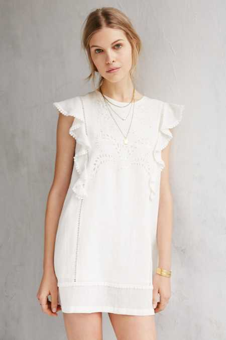 Moon River Embroidered Flutter-Sleeve Shift Dress