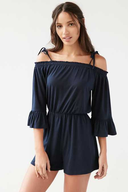 Glamourous Off-The-Shoulder Knit Romper