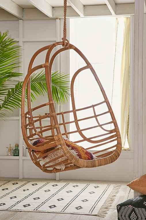 Tenley Rattan Swing Chair,BROWN,ONE SIZE