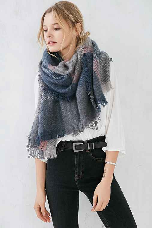 BDG Soft Blanket Scarf,GREY,ONE SIZE