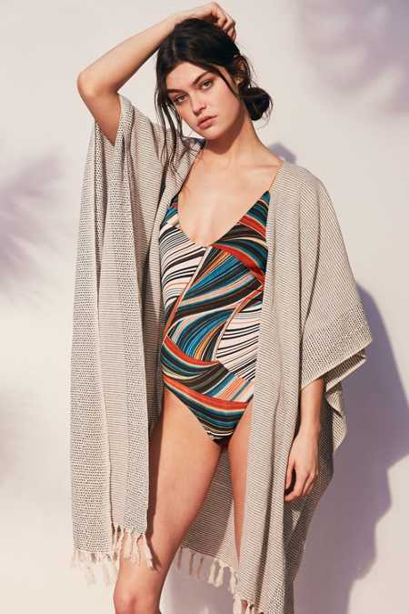 Beach Blanket Feeder Stripe Duster Poncho