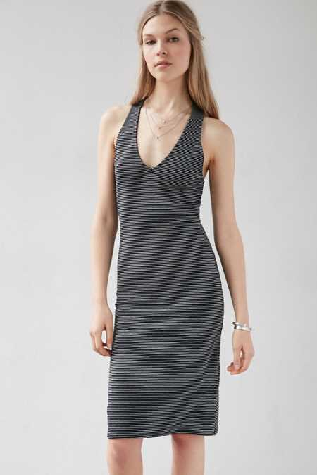 Silence + Noise Deep-V Racerback Midi Dress