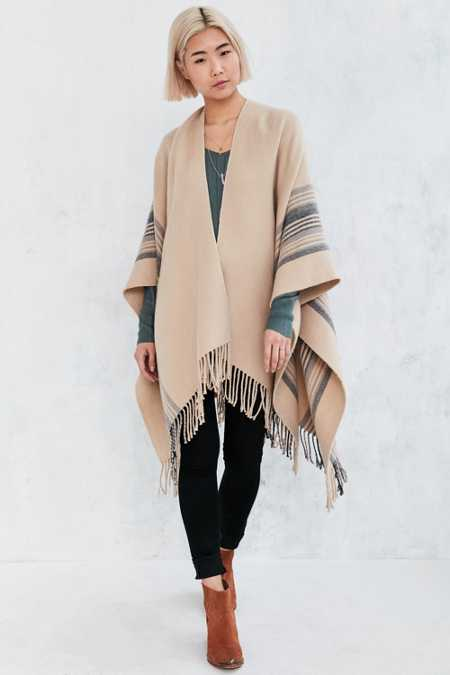 Vertical Stripe Open Poncho
