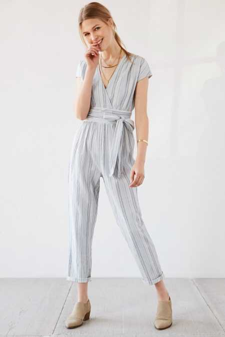 Ecote Yarn-Dye Stripe Wrap Jumpsuit