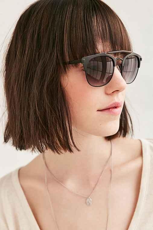 Tortoise Brow Bar Frame Sunglasses,BLACK,ONE SIZE
