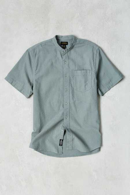 CPO Seersucker Band Collar Short-Sleeve Button-Down Shirt