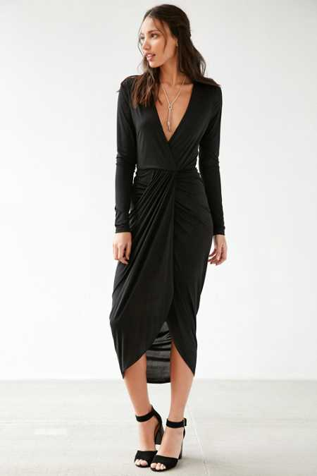 Silence + Noise Ruched Surplice Midi Dress
