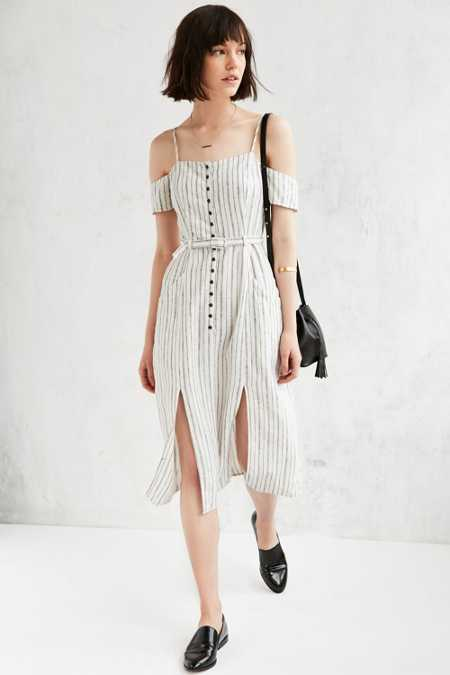 Cooperative Adele Off-The-Shoulder Striped Dress