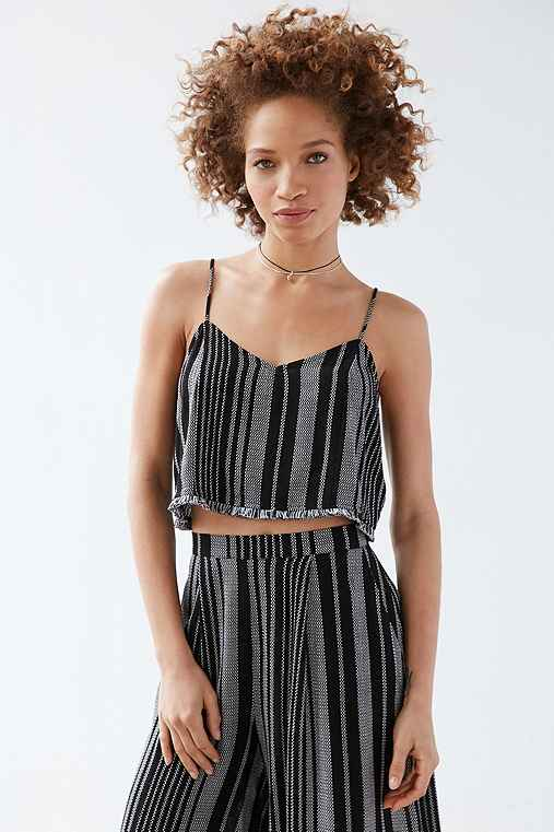 Silence + Noise Yarn-Dye Stripe Set Cami,BLACK MULTI,10