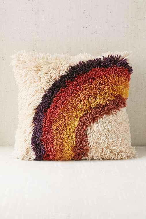 Rainbow Shag Pillow,MULTI,ONE SIZE
