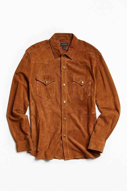 CPO Suede Western Shirt,BROWN,M