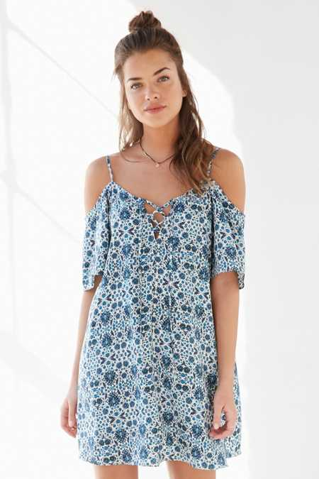 Ecote Lace-Up Cold Shoulder Mini Dress
