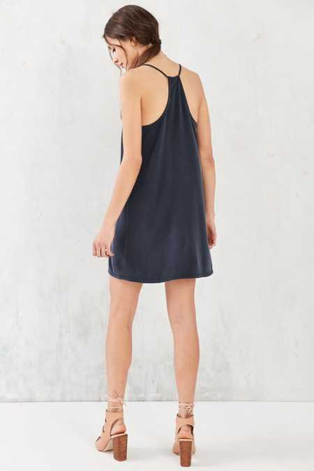 Silence + Noise V-Neck Cupro Mini Slip Dress