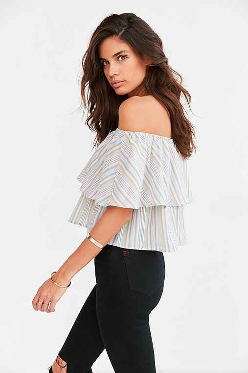 Kimchi Blue Raquel Ruffle Stripe Off-The-Shoulder Blouse,PINK,L