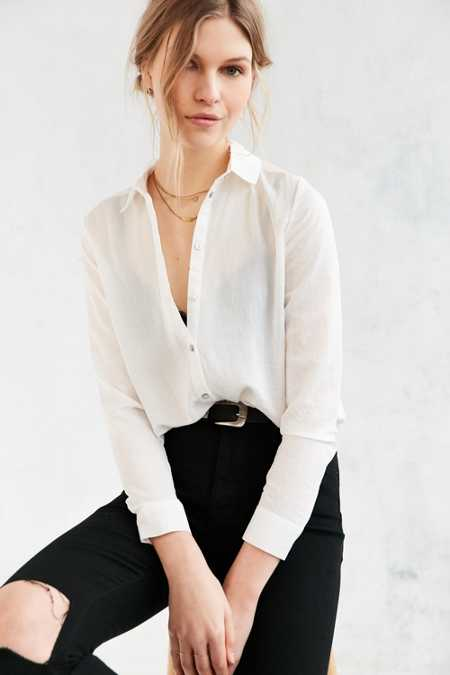 Silence + Noise Modern Button-Down Blouse