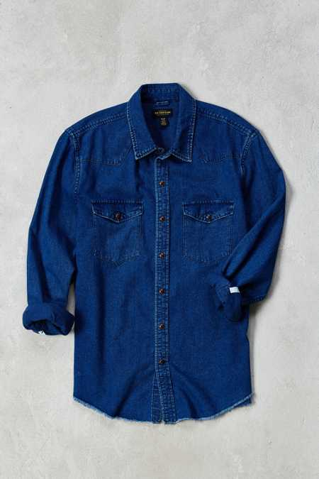 CPO Raw Hem Denim Western Shirt